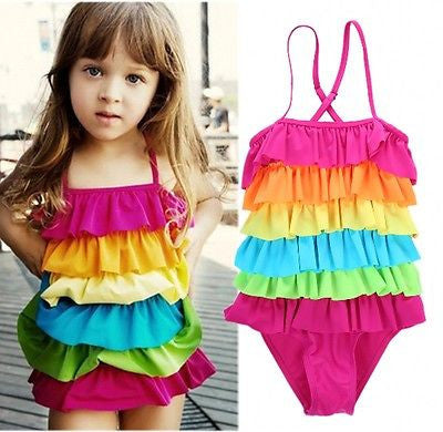 """Rainbow"" Girls Swimwear, One-Piece Swimsuits"