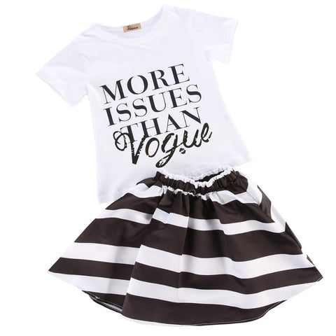 Letter Printed White T-shirt + Fashion Striped Skirts