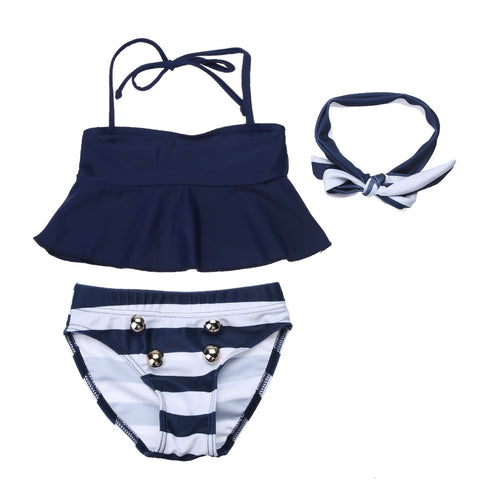 3 Pcs Top + Headband + Striped Swimwear For Baby Girls