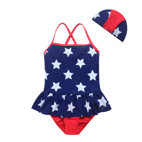 One Piece Star Print Baby Girls Swim Suit With Cap