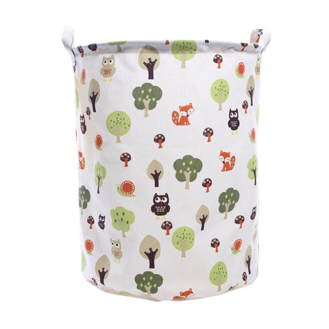 Printed Canvas Cotton Linen Basket For Bedroom/Bathroom