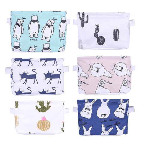 Cartoon Print Linen Home Organizer Desk Box