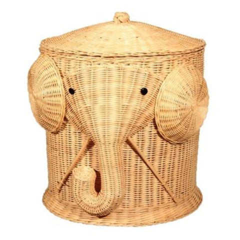 Elephant Woven Wicker Laundry Bin With Lid