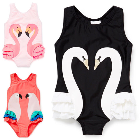Animal Printed One-Piece Girls Swimsuit, Swimwear
