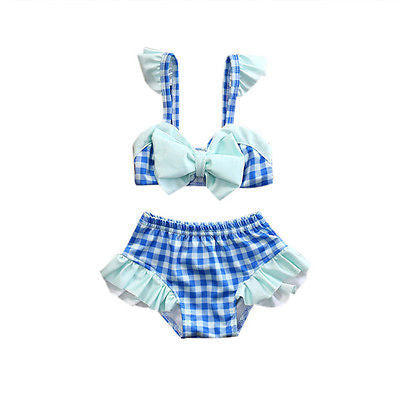 Bow-knot Plaid High Waist Bikini Set And Beachwear