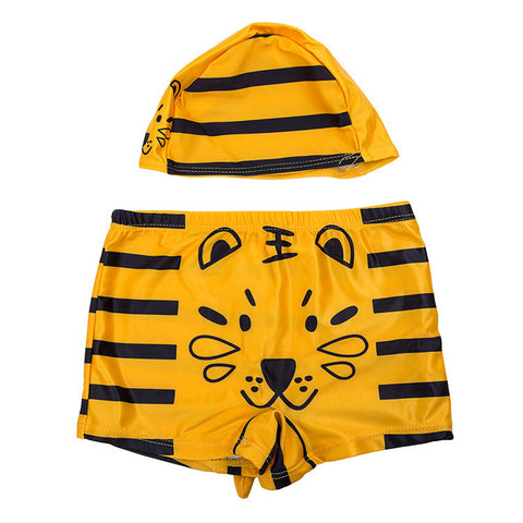 Baby Boy's Printed Swimming Trunks + Swimming Hat