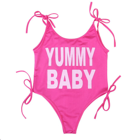 """Yummy Baby"" Letter Printed Swimwear For Baby Girls"