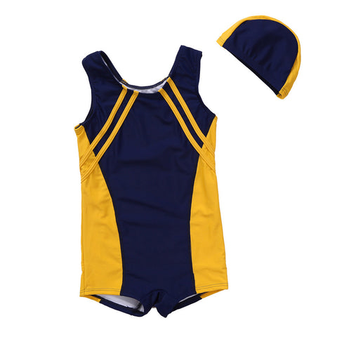 Sleeveless Swimsuit For Kids With Swim Cap