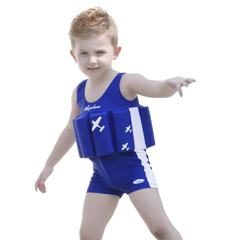 Blue Aircraft Buoyant Swimwear Suit For Baby Boy's