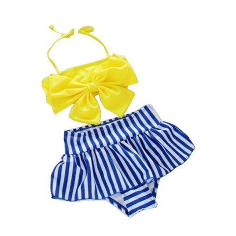 Bow-knot Striped Summer Swimsuit For Babies