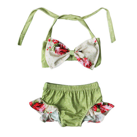 Floral Bow-knot Summer Bikini Set For Baby Girls