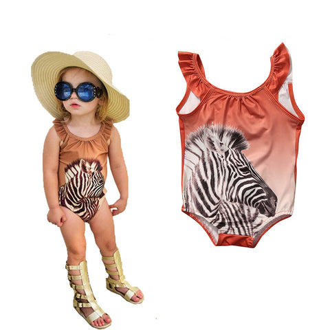 Animal Zebra Printed Baby Girl's Swimming Costume