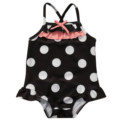 One Piece Ruffle Polka Dot Cross Back Swimming Suit