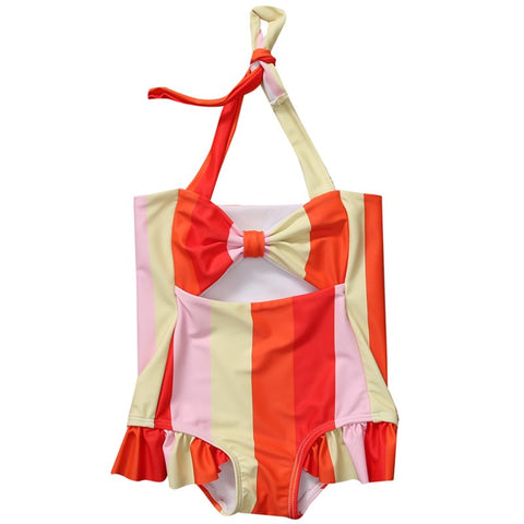 Colorful Striped Ruffles Bow Halter Bathing Swim Suit