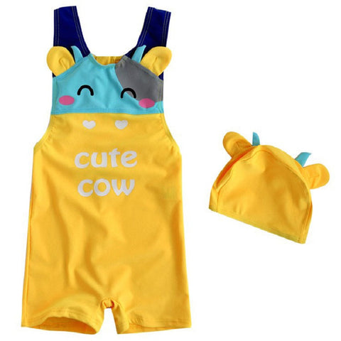"""Cute Cow"" Printed Swimming Suit For Kids"