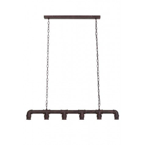Industrial pipework linear light great above a dining table or kitchen island.  An industrial bronze light which looks amazing with 6 globe bulbs.  The bronze chain can be easily adjustable and the light measures 85cm wide.