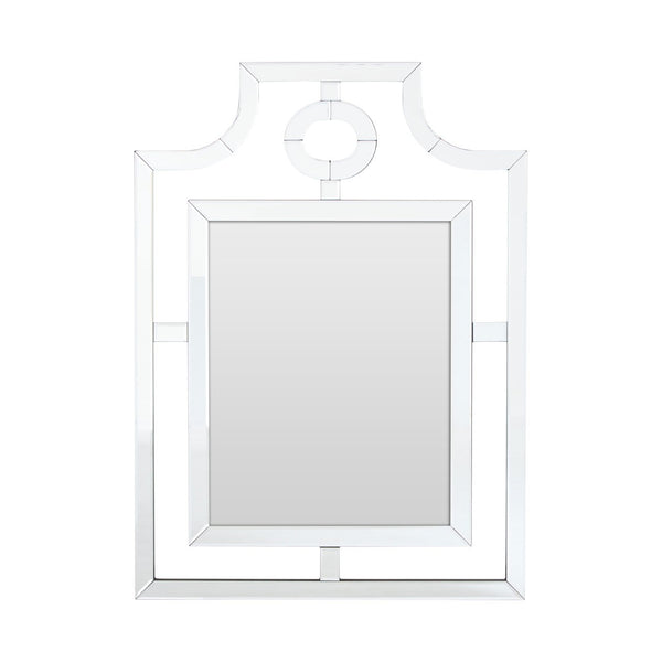 H: 110cm  W: 80cm  This elegant glass cut out mirror is stylish and simple while adds interest to your wall.  An unusual and interesting feature mirror that will lift any space.