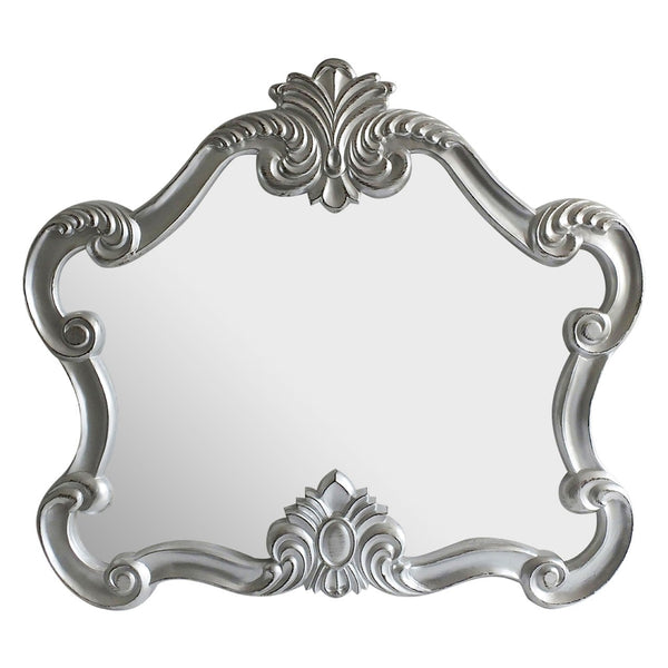 Ornate Silver Wall / Overmantle Mirror