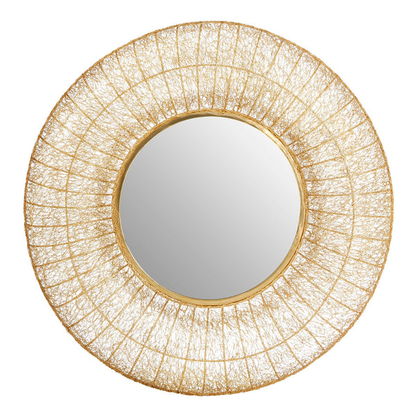 Gold Iron Wired Round Wall Mirror