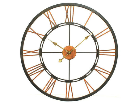 Large Antique Brown Skeleton Wall Clock