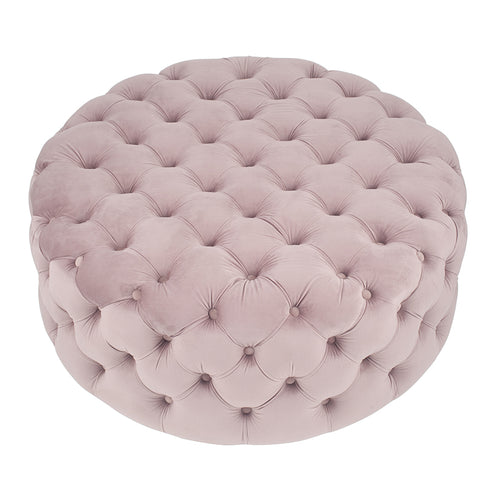 Pale Pink Buttoned Round Stool
