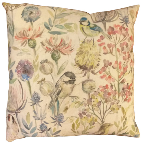 "Sparrows & Flowers Feather Filled Cushion 20"" / 18"""