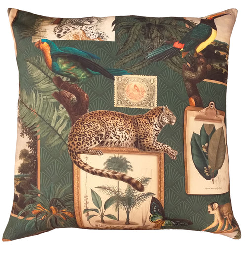"Indian Leopard Feather Filled Cushion 20"" / 18"""