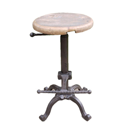 Industrial Adjustable Stool With Wooden Top