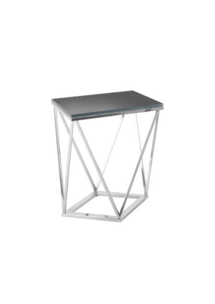 Printed Glass Toip & Nickel Side Table
