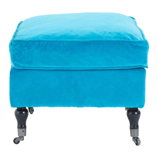 Electric Blue Velvet Caster Wheel Footstool