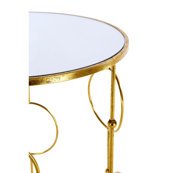 Set Of 2 Gold & Mirrored Glass Top Side Tables