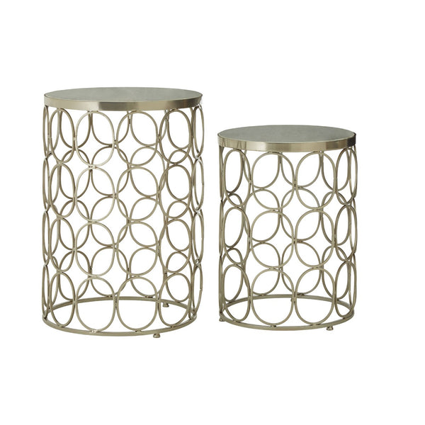 Set Of 2 Silver Iron & Polished Marble Top Side Tables