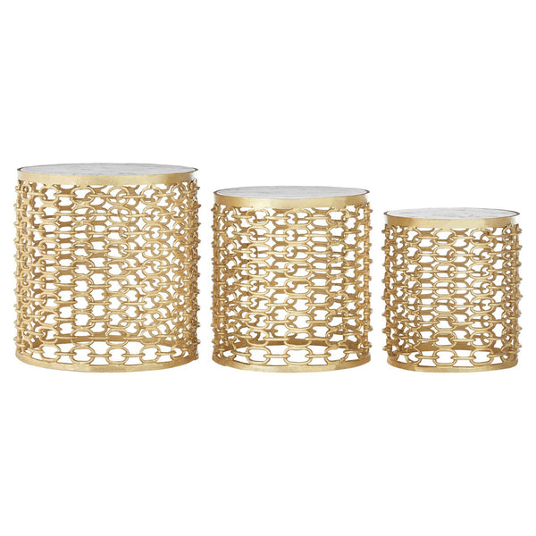 Set Of 3 Gold & Polished Marble Top Side Tables