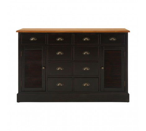 Black painted cabinet with mutl drawers and 2 doors. Dramatic Black effect.