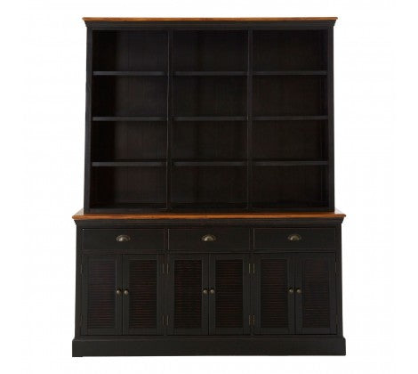 Dresser painted black. Large Shelving over Sideboard