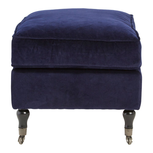 Deep Dark Blue Caster Wheel Footstool