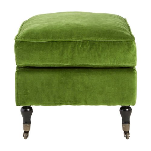Olive Green Velvet Caster Wheel Footstool
