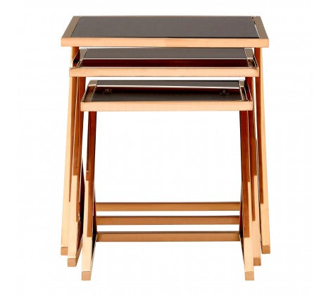 Set of 3 Rose Gold Side Tables