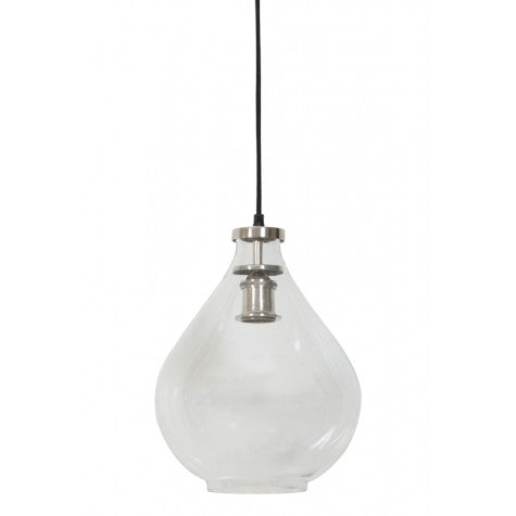 Nickel Finish Glass Pear Shape Hanging Lamp