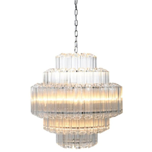 Wide Crystal Prism Chandelier