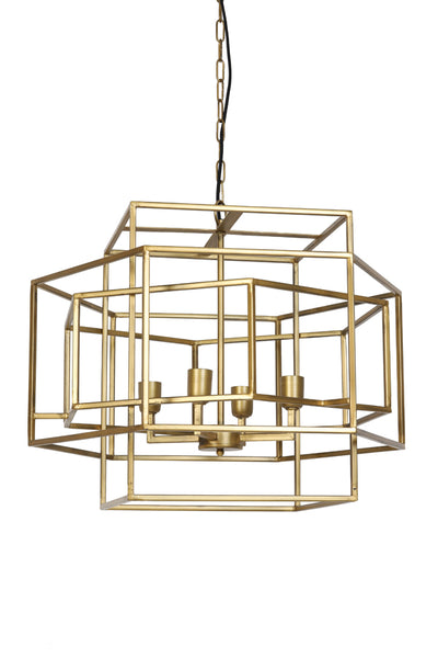 4 Light Gold Geometric Metal Lantern