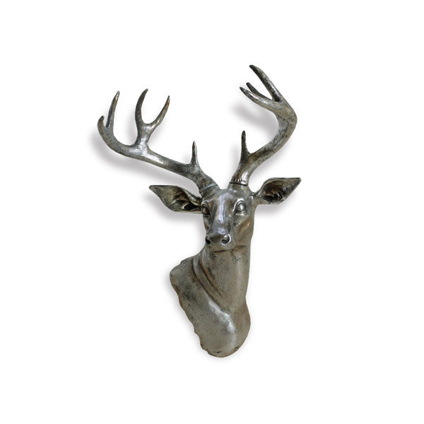 Silver Finish Stag Head - Wall Hanging or Floor Standing