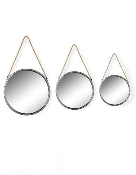 Hanging Silver Round Mirrors