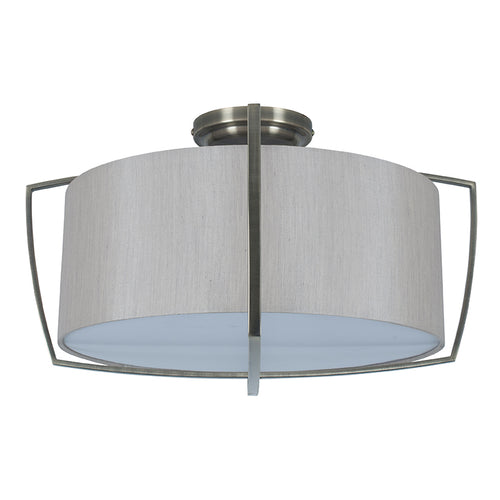 Flush Silver Metal Framed/Grey Shade Pendant