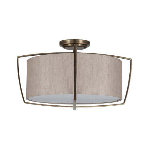 Flush Brass Metal/Taupe Shade Pendant