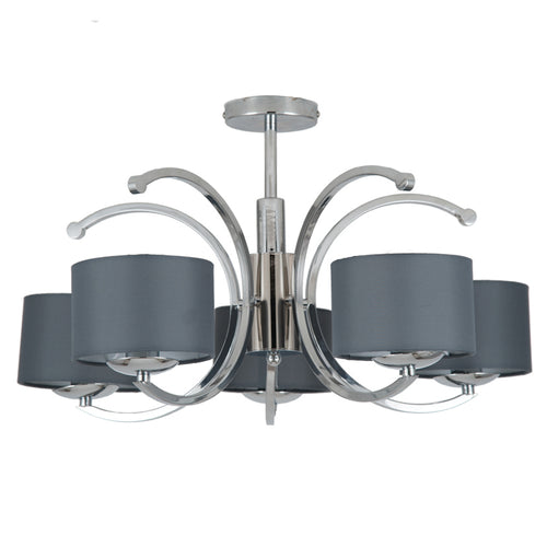 Flush Silver 5 Light Chandelier