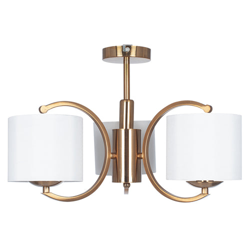 Semi-Flush 3 Branch Brass Chandelier