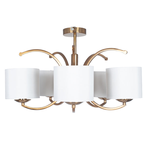 Satin Brass Metal Curved 5 Arm Semi Flush Pendant/Chandelier