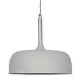 Matt Domed Metal Pendant - Light Grey
