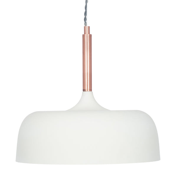 Matt Domed Metal Pendant - White with Copper